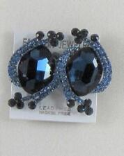 "1.25"" Navy Blue Rhinestone Clip-On Earrings"