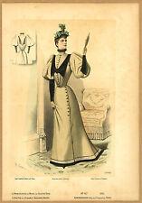 1892 color Print VICTORIAN HIGH FASHION robe manteau w/velvet,back sketch FRANCE