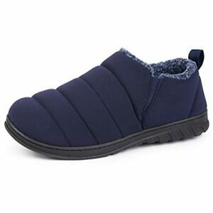 HomeTop Men's Comfy Insulated Quilted House Shoes with Memory Foam