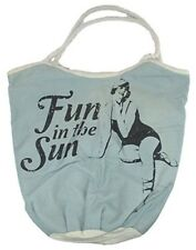 BackRoads Textiles Canvas Tote Bag with Rope Handle Fun in the Sun Beach Bag