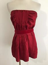 Banana Republic Strapless Silk Top w/Velvet Ribbon Scarlet Red Size 0