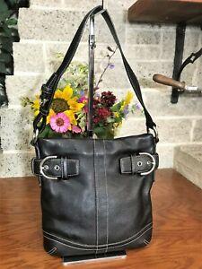 COACH BLACK LEATHER SOHO BUCKLE DUFFLE SHOULDER BAG 1453 HANDBAG BAG PURSE HOBO