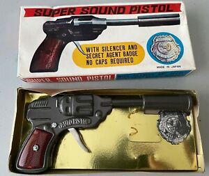 Vintage 1960's Tin Toy Frankonia Japan Secret Agent Pop Cap Gun Pistol Box MINT