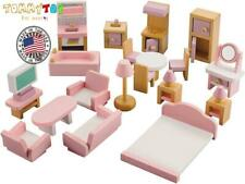 Doll House Wooden Accessories and Furniture Pink Color Toys for Girls 22 Pieces