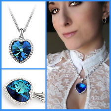 Women Titanic Ocean Crystal Heart Pendant Rhinestone Necklace Gift