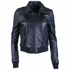 DIESEL L LOWER Womens Biker Jacket Genuine Leather Long Sleeve Cafe Racer Coat