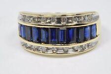 Women's 14k Solid Yellow Gold 1.50 ct Sapphire & Diamond Gemstone Cocktail Ring