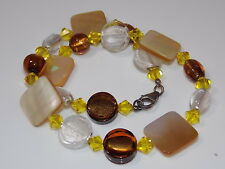 MOP Shell Foiled Art Glass Faceted  Crystal Bead Sterling Silver Necklace 7k 34