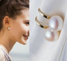 Lady Elegant White Pearl Crystal Rhinestone Lady Earrings Ear Stud 1 Pair Women