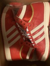 Adidas Mens Top Ten Hi Top White Red Sneakers Trainers - Size 9 UK NEW 99p