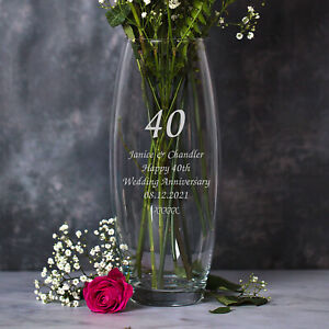 Personalised Glass Vase For 40th Ruby Wedding Anniversary Gifts Ideas Couple