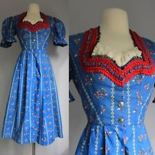 vintage 1940s 1960s Dirndl dress Floral Calico Prairie Blue Cotton Sweetheart S