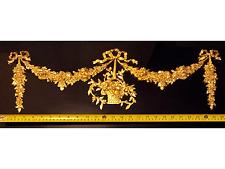 Gran Antiguo Francés Luis Xvi Puerta De Pared De Resina Dorado Oro Decoración de moldeo