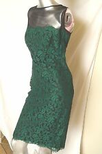 Tadashi Shoji Illusion Mesh Sleeveless Green Lace Over/Black Sheath Dress, Sz 12