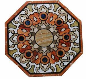 White Marble Coffee Table Top Inlay Mosaic Art Set Pitreadura Handmade Home Deco