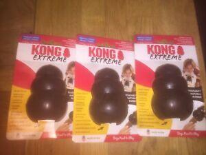 KONG Extreme Black Medium 3X Rubber Treat Dispenser Dog Chew Toy,