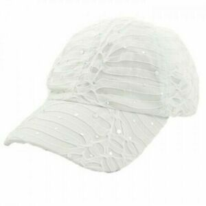 Rhinestone Baseball Cap Glitter Sequin White Sparkly Bling Summer Hat Sun Lady