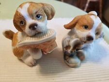 HOMCO  Puppy DOGS Spaniels Figurines Chewing on Shoes 1405