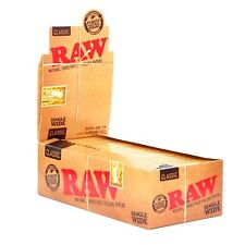 RAW Rolling Papers 70mm Classic Single Wide Unrefined Natural Hemp Full Box