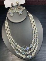 1950S  White Aurora Borealis Glass Crystal  3 Strand Faux Pearl Necklace  Set