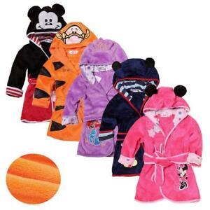 Cartoon Kids Robes Flannel Child Boys Girls Robes Lovely Animal Hooded Bath Rob