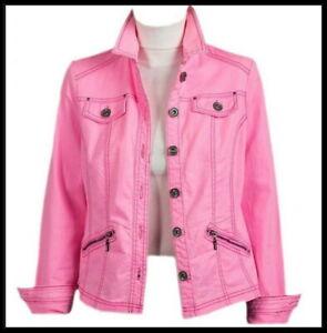 New Womens Ladies Pink Zip Pockets Denim Jacket Size 10 12 14 16 18 20