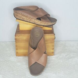 Fitflop Kys Brown Leather Cork Wedge Slide Comfort Sandals 11 B