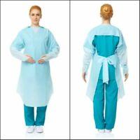 CPE Isolation Gown PPE Thumb Loop Long Sleeve Tie Back Fluid Resistant 4 ct  NIP