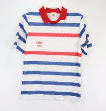 Vintage 80s New Umbro Mens Small Spell Out Striped Short Sleeve Soccer Jersey