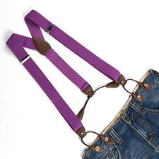 Light Purple Unisex Men's Suspender Adjustable Elastic Braces Button Holes BD702