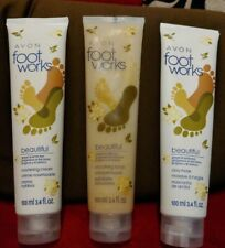 Avon 3 pcFoot Works Beautiful Ginger and White Tea Clay Msk, Nourishg Crm, Scrub