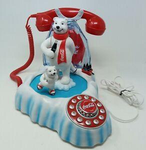 Coca Cola Animated Polar Bear Ice Skating Push Button Telephone Coke Collectible
