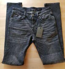 """Womens ALLSAINTS washed Black Cigarette Damaged Skinny Jeans UK 10 28"""" 31L BNWT"""