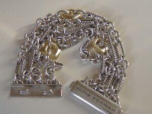 $1750 DAVID YURMAN 18K GOLD , SS  MULTI FIGARO CHAIN BRACELET