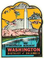 Washington  DC   Vintage 1950's Style  Travel Decal Sticker    Monument