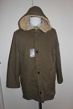 NWT 795 Men's Cole Haan  Coat Jacket Hooded Military Faux Fur Olive Green Large