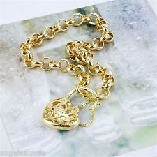 18K Yellow Gold Filled Filigree Heart Padlock Belcher Bracelet (B-255)