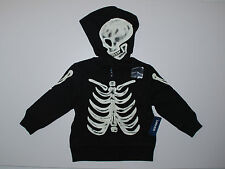 Sweatjacke~80-86~USA~OLD NAVY~Übergangsjacke~Kapuze~Skelett~leuchtet~schwarz~neu