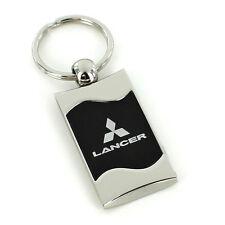 Mitsubishi Lancer Black Spun Brushed Metal Key Ring