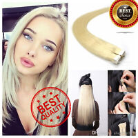 Seamless Tape In 100% Human Remy Hair Extensions Black Brown Blonde Ombre A24523