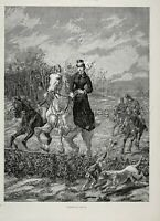 Horse Woman Sidesaddle Lady Rider Leads Hunt Jumping, Large 1880s Antique Print