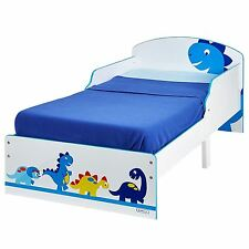 DINOSAURS TODDLER BED WHITE BLUE JUNIOR KIDS BEDROOM WITH PROTECTIVE SIDE PANELS