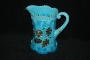 BEAUTIFUL EAPG VICTORIAN NORTHWOOD BLUE OPAQUE CHRYSANTHEMUM SPRIG PITCHER C1900