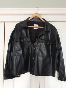 Zara Black Faux Leather Shirt Size M