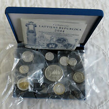 Lettonie 2004 9 coin silver proof euro prototype pattern set-mint sealed