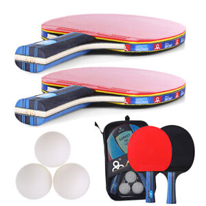 Table Tennis Racket Ping Pong Set - 2 Bats and 3 Balls Set - For 2 Players Game