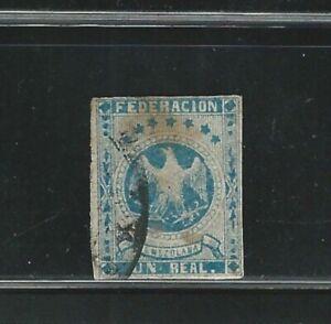 Venezuela: 1863; Scott 13, Value 1r., blue eagle, used.  VZ0859