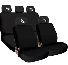 For Jeep New 4X White Paws Logo Headrest And Black Fabric Seat Covers
