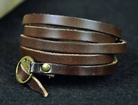 Cool Super Long Multi 5-Wraps Leather Bracelet Wristband Cuff Brass Clasp BROWN
