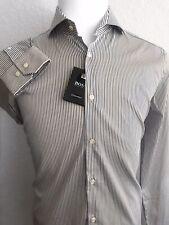 3c34811d8 Hugo Boss Mens Tailored Slim Fit Dark Blue Stripe Dress Shirt 41/16